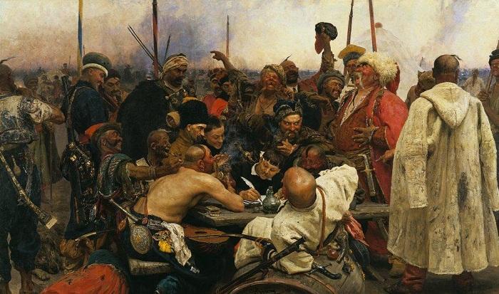 «Запорожцы пишут письмо турецкому султану». (1891 г.). Автор: Илья Репин.