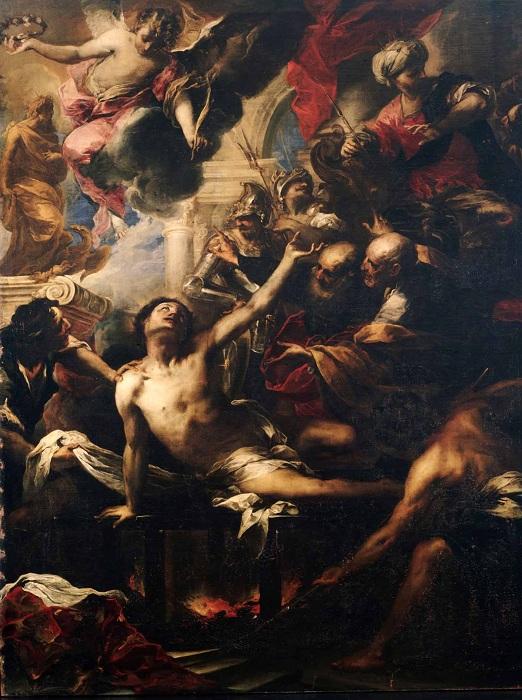 «Мученичество св. Лаврентия». Автор: Валерио Кастелло.