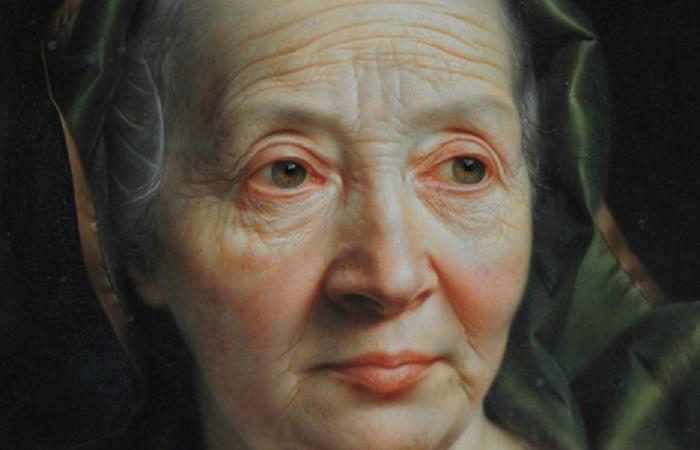 «Портрет пожилой женщины в зеленом шарфе». Фрагмент. Автор: Кристиан Сейболд.