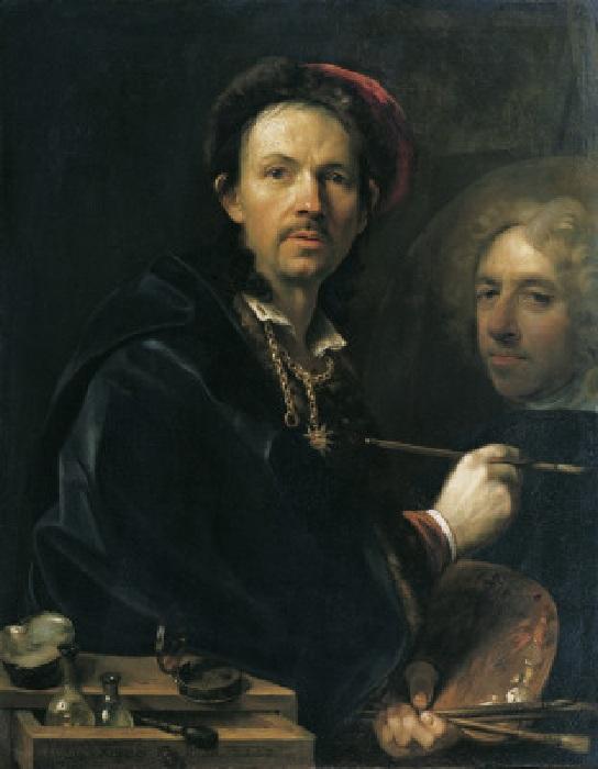 Автопортрет с эскизом портрета принца Юджина Савойского. Автор: Ян Купецкий.