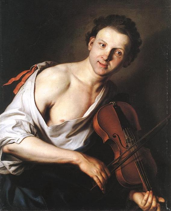 Молодой человек со скрипкой.