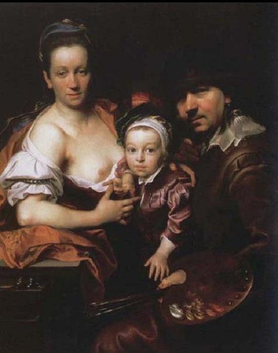 Портрет художника с женой и сыном.