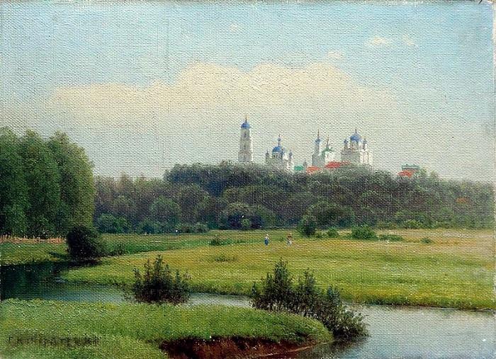 «Летний пейзаж. Вид на монастырь.» (1880 год). Автор: Гавриил Павлович Кондратенко.