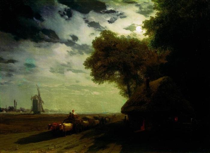 «Украинский пейзаж с чумаками при луне». Автор: Иван Айвазовский.