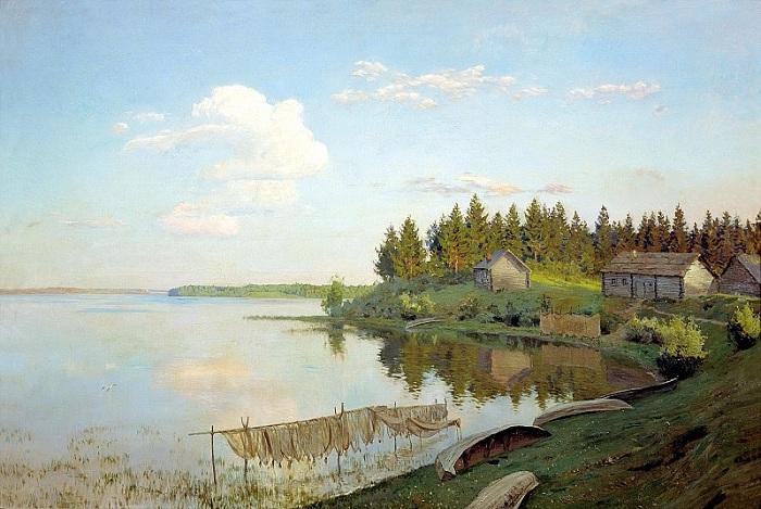 «На озере». (1893 год). Автор: Исаак Ильич Левитан.
