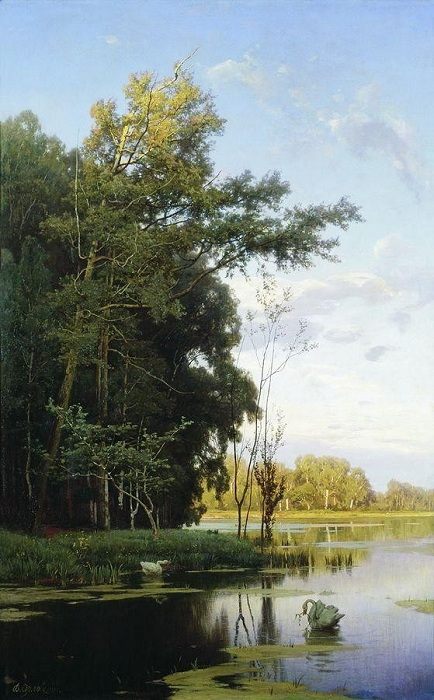 «Озеро в Гатчинском парке». (1881 год). Автор: Владимир Орловский.