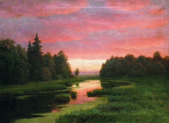 « Закат над рекой». (Начало 1880-х). Автор: Гавриил Кондратенко.