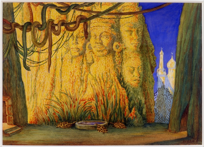 Эскиз декорации к балету  «Синий бог». Автор: Лев Бакст.
