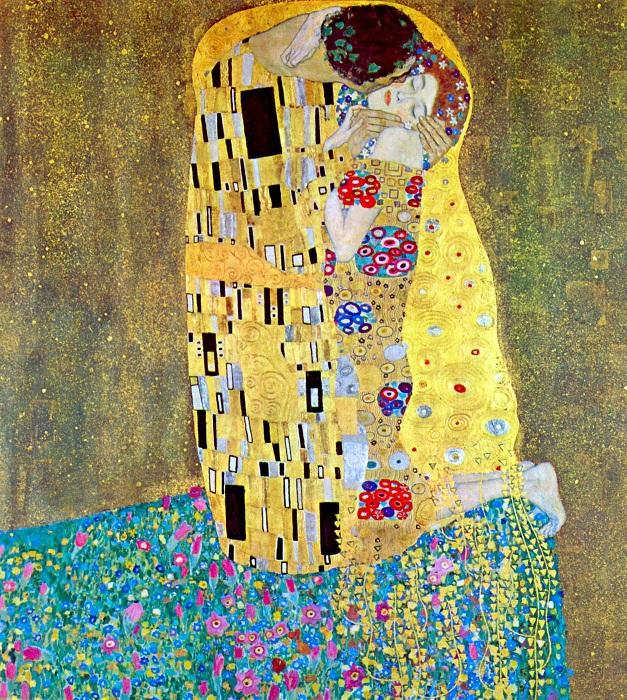 «Поцелуй» ( 1907-1908 года). Автор: Густав Климт.
