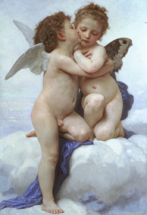 «Первый поцелуй», «Купидон и Психея в детстве». (1890 год). Автор: Вильям Бугро.