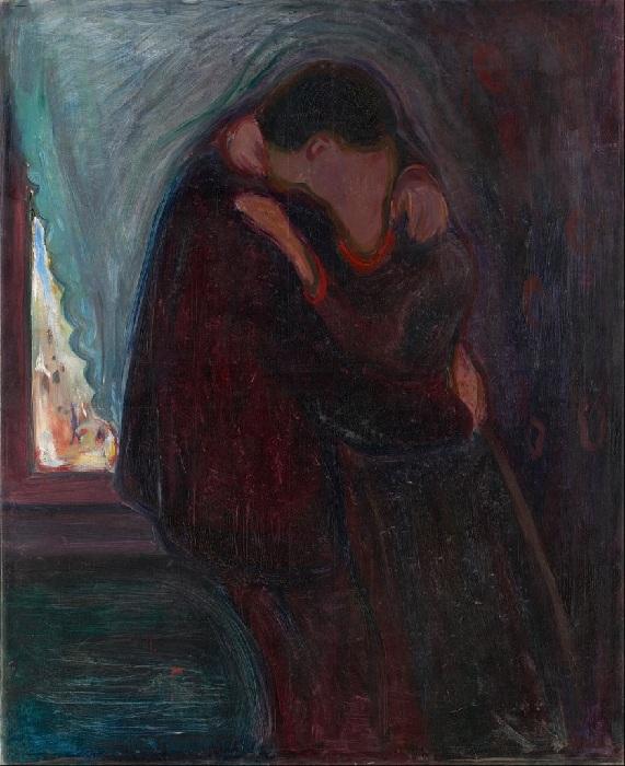 «Поцелуй» (1897 год). Автор: Эдвард Мунк.