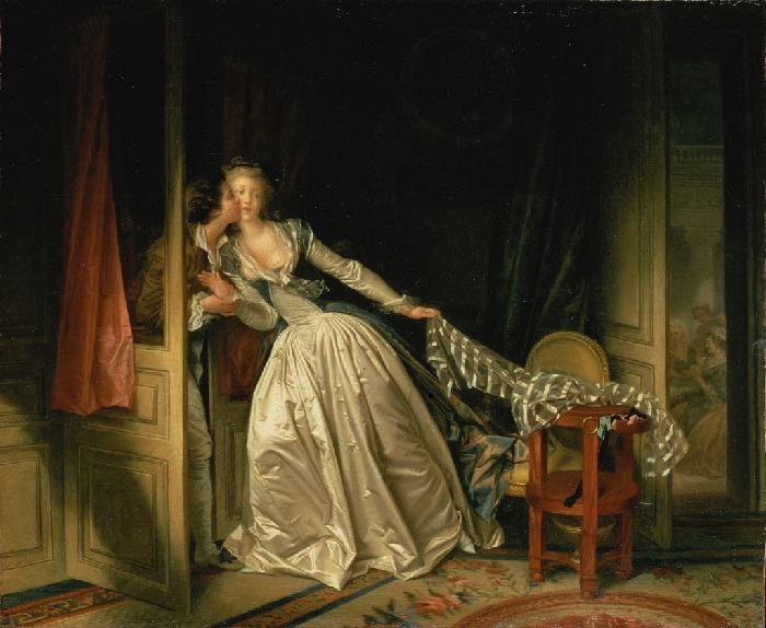 «Поцелуй украдкой» конец 1780-х. Автор: Жан Оноре Фрагонар.