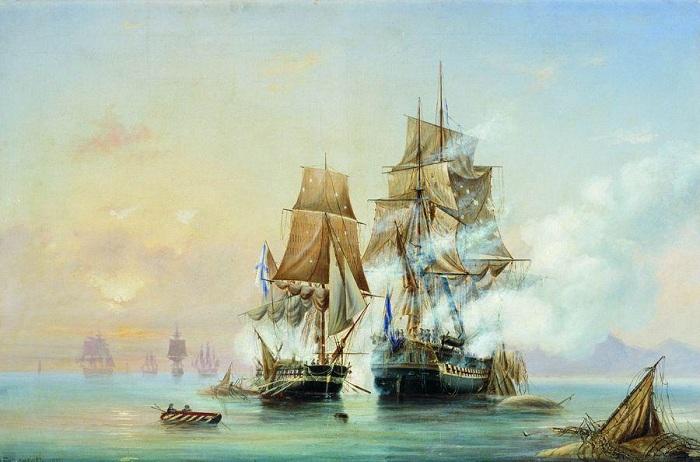 Гибель фрегата «Александр Невский» (Дневной вариант). (1868). Автор: Алексей Петрович Боголюбов.