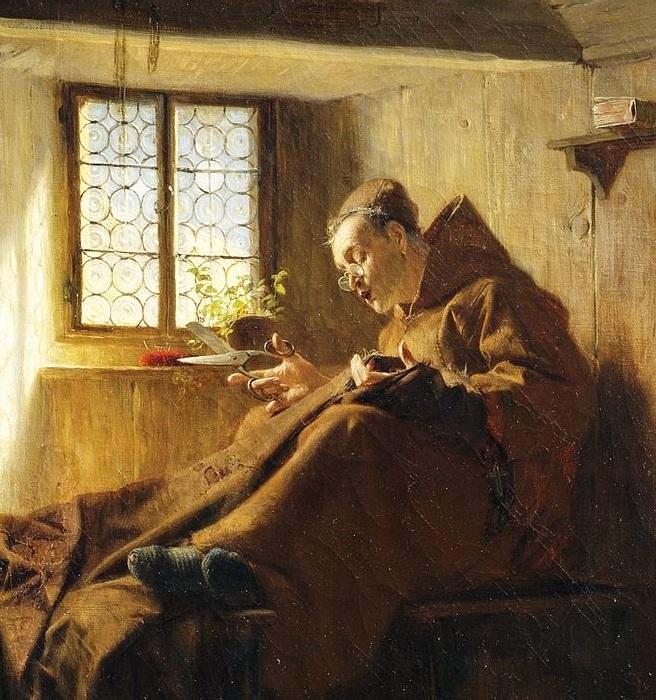 Монах в келье шьет капюшон. Автор: Эдуард фон Грютцнер.