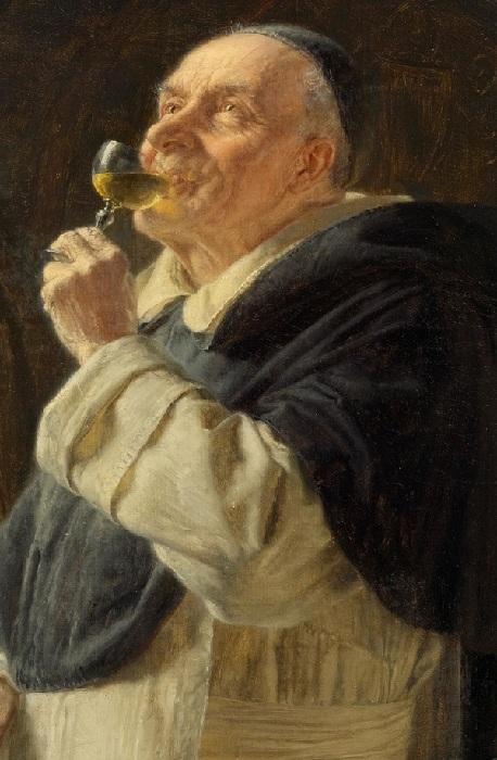 Монах с бокалом вина. Автор: Эдуард фон Грютцнер.