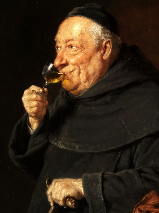 Старый монах с бокалом вина. Автор: Эдуард фон Грютцнер.