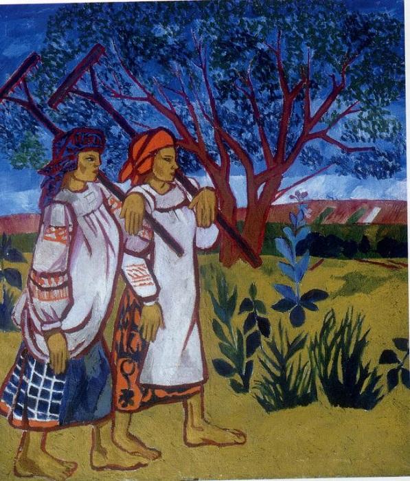 «Бабы с граблями» (1907). Автор: Наталья Гончарова.