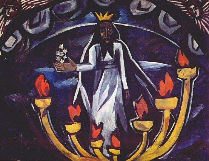 «Старец с семью звездами». (Апокалипсис). (1910). Автор: Наталья Гончарова.
