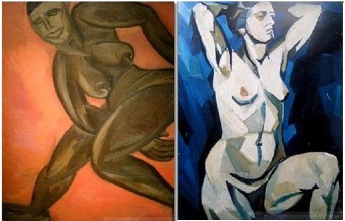 «Соблазнительные картины» Наталии Гончаровой: слева — «Обнаженная негритянка», справа — «Натурщица с закинутыми за голову руками (на синем фоне)».