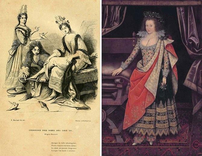 Мода на обувь в 17-18 веке.