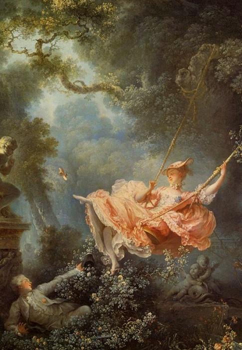 «Счастливые возможности качелей» (1766). Автор: Жан Оноре Фрагонар.