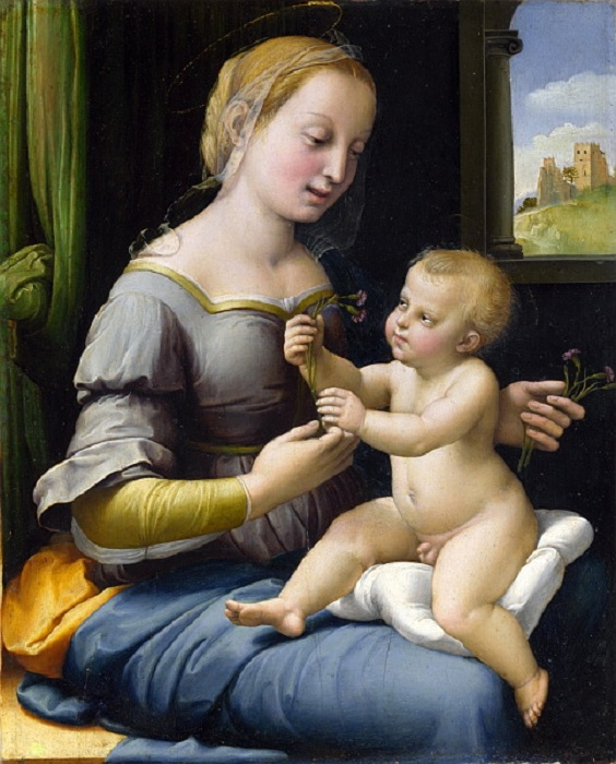 Мадонна с гвоздиками. (1507). Автор: Рафаэль Санти.