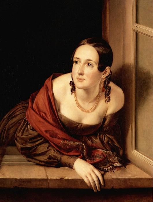 Женщина в окне. Автор: Василий Андреевич Тропинин.