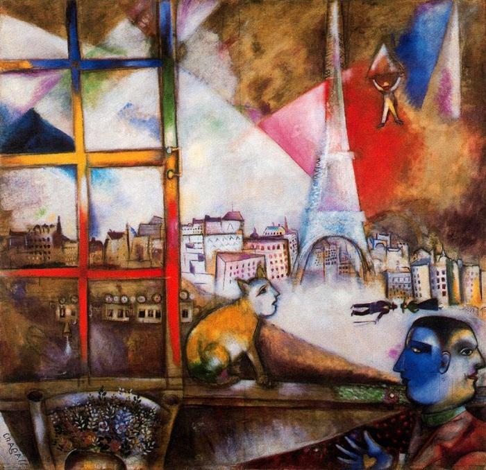 Париж через окно. Автор: Марк Захарович Шагал.