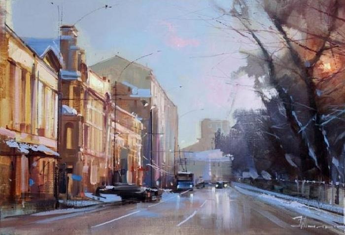 «Зимний закат. Тверской бульвар». Автор: Шалаев Алексей.