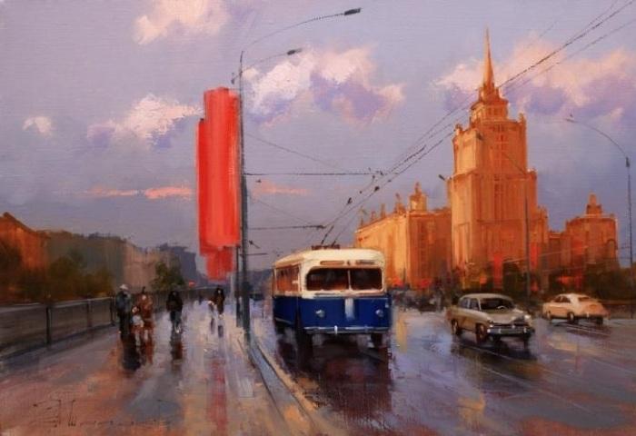 «Красный октябрь, синий троллейбус. Новоарбатский мост». Автор: Шалаев Алексей.
