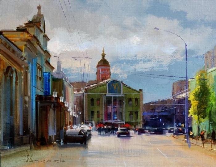 «Просто летний дождь прошёл. Серпуховская площадь». Автор: Шалаев Алексей.
