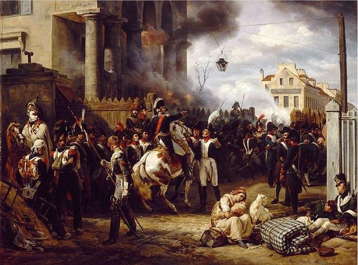 Оборона заставы Клиши в Париже в 1814 г. Картина О. Верне, который сам был участником обороны Парижа.