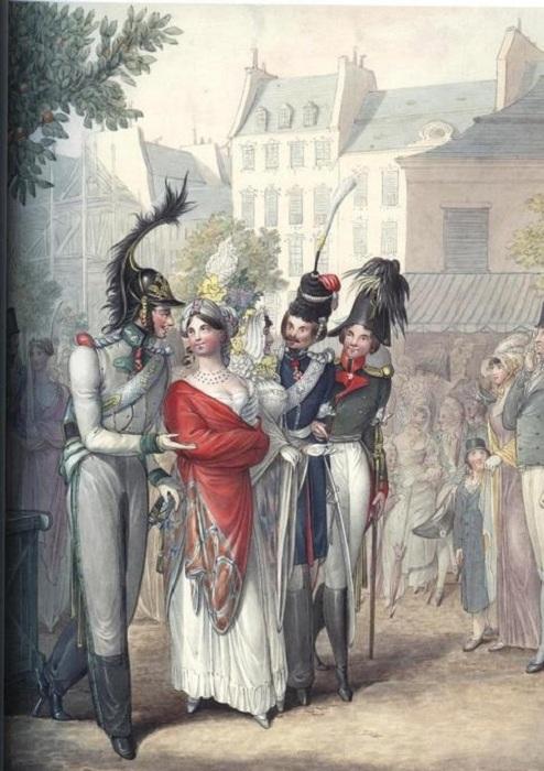 Сценка на улице Парижа: австрийский офицер, казак и русский офицер прогуливаются с двумя парижанками.