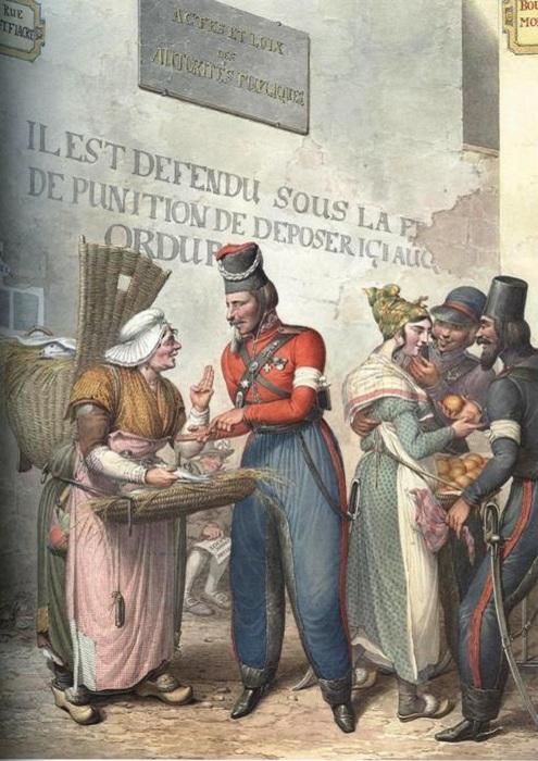 Уличная сценка: казаки и торговки рыбой и яблоками.