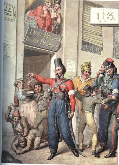 Русские казаки на улицах Парижа.