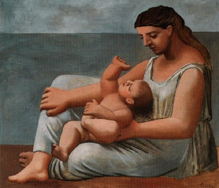 Мать и дитя на берегу моря. Автор Пабло Пикассо.