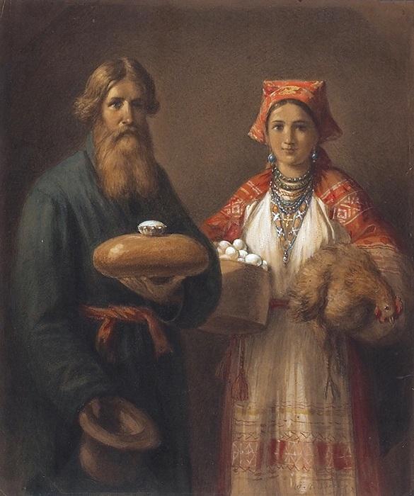 «Хлеб да соль». 1874. Автор: Бер Вильгельм Амандус.