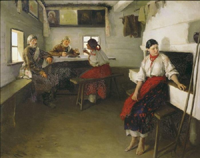 «Сваты», (1882). Краснодарский краевой художественный музей.  Автор: Николай Пимоненко.