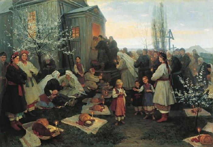 «Утро Христова Воскресения», (1891), холст, масло — Рыбинский художественный музей. Автор: Николай Пимоненко.