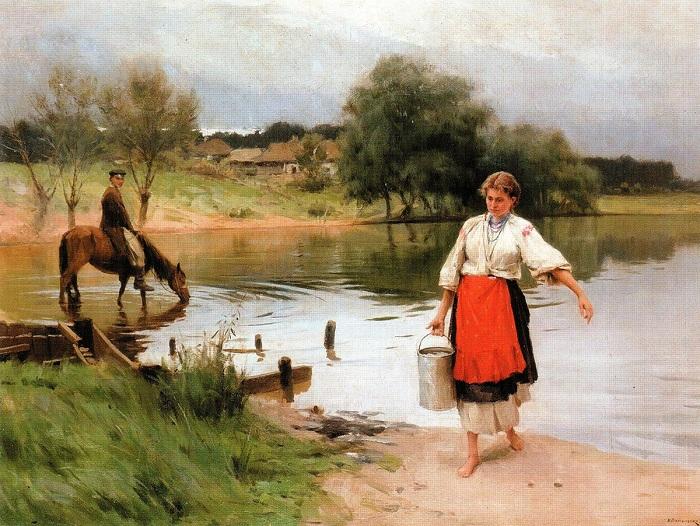 «На речке». Автор: Николай Пимоненко.