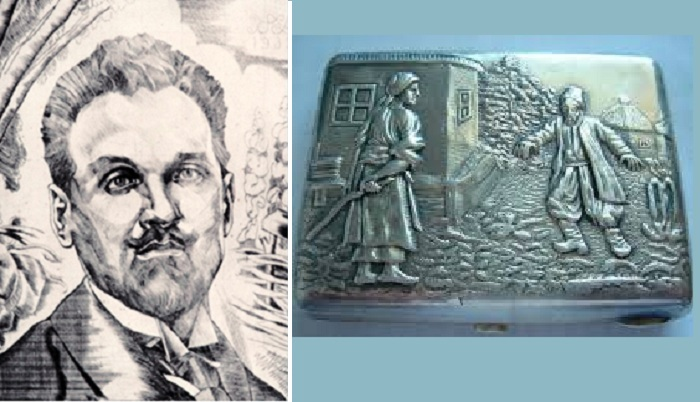 Графический портрет Н.К.Пимоненко. / Чеканка на портсигаре с сюжетом из полотна «До дому» .