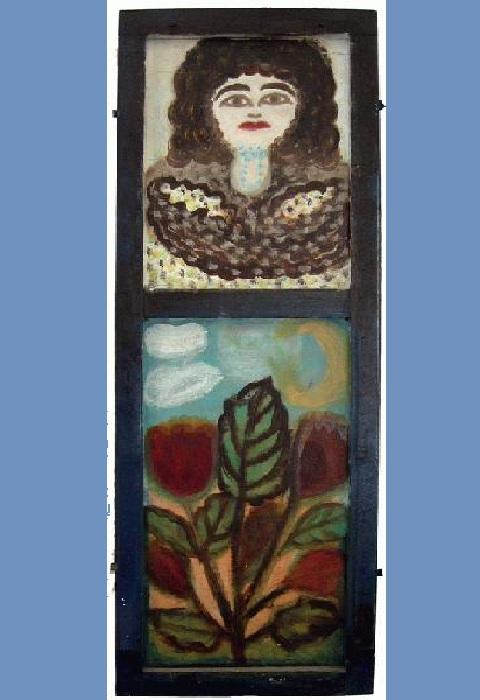 «Автопортрет», 2004, подзеркальник, эмаль, 125х24. Живопись Полины Райко (1927-2004).