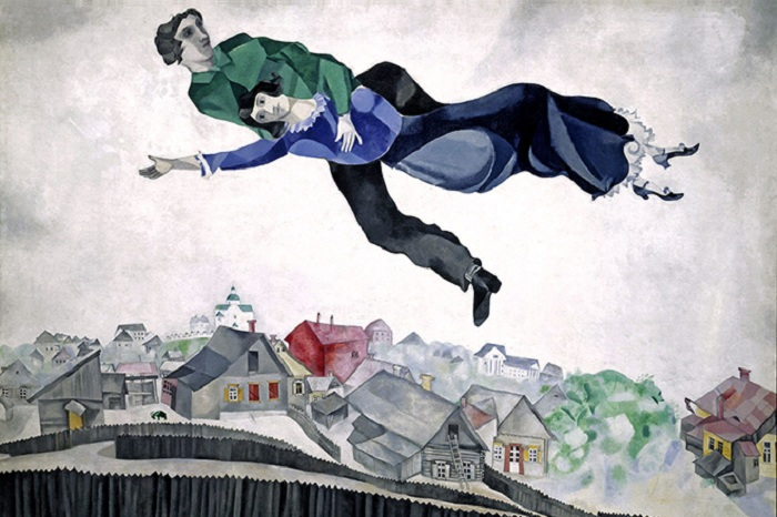 «Над городом». (1914-1918 гг). Автор: Марк Шагал.