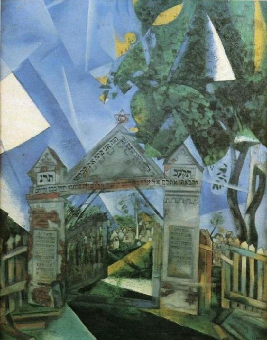 «Ворота кладбища». (1917 год). Автор: Марк Шагал.