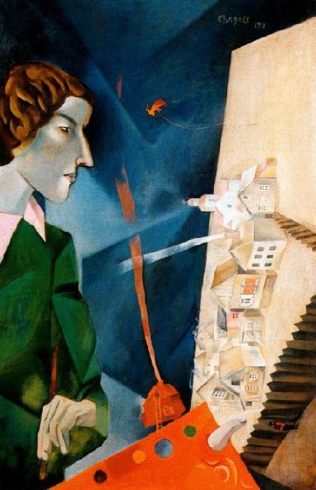 «Автопортрет с мольбертом». (1917 год). Автор: Марк Шагал.
