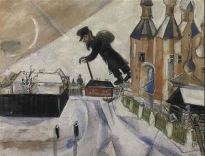«Новый год в Витебске».(1914 год). Автор: Марк Шагал.
