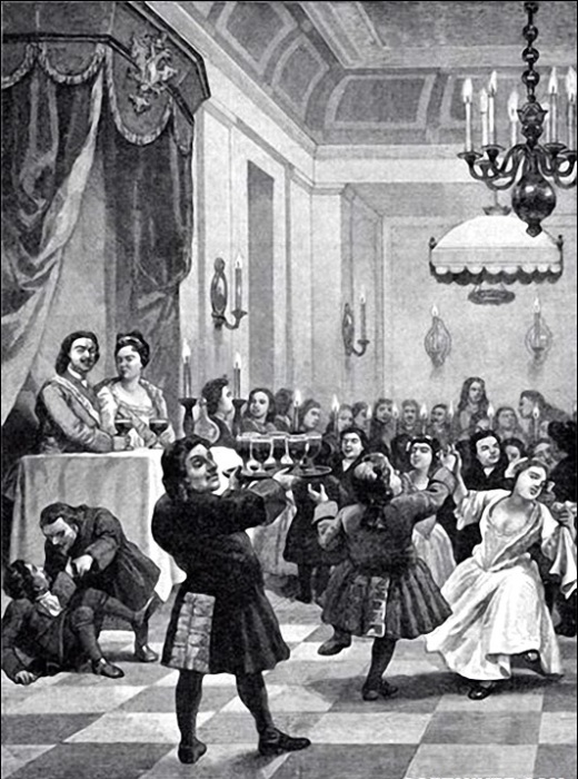 Свадьба царского карлика Якима Волкова и карлицы царицы Прасковьи Федоровны в 1710 году.