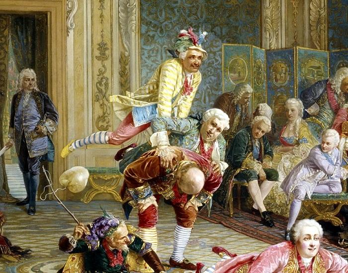 Троица шутов (сверху вниз): Иван Балакирев, князь Н.Ф. Волконский и князь М.А. Голицын (стоит согнувшись).