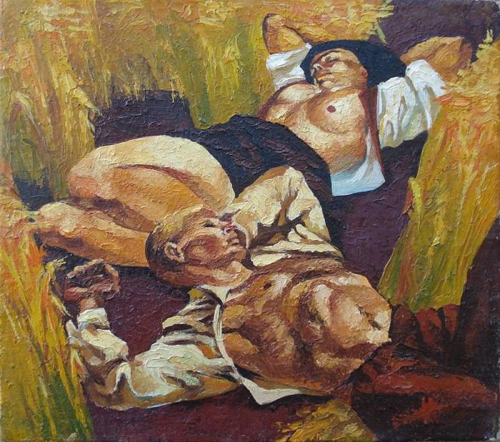 Полдень: Отдых от работы. (1890 г.) Автор: Винсент Ван Гог.