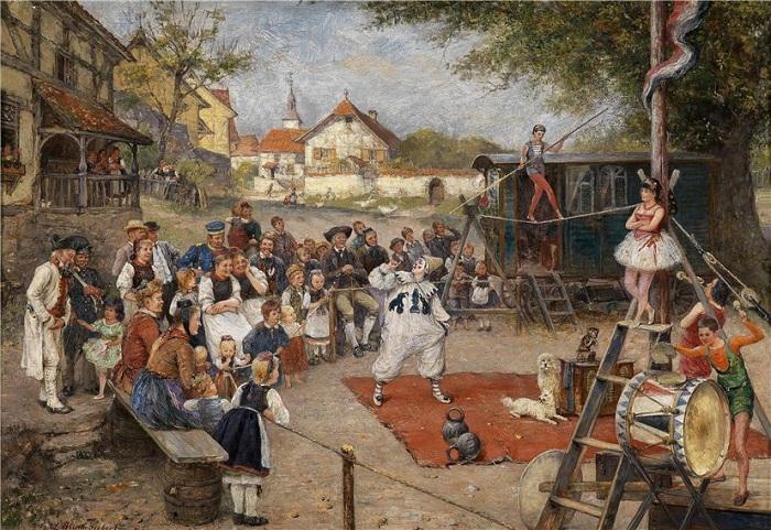 Уличный цирк. Автор: Людвиг Блюм-Зибер (1843-1929).